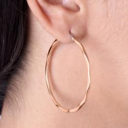 Boucles d'oreilles Femme Créoles Phebus Acier Doré Rose