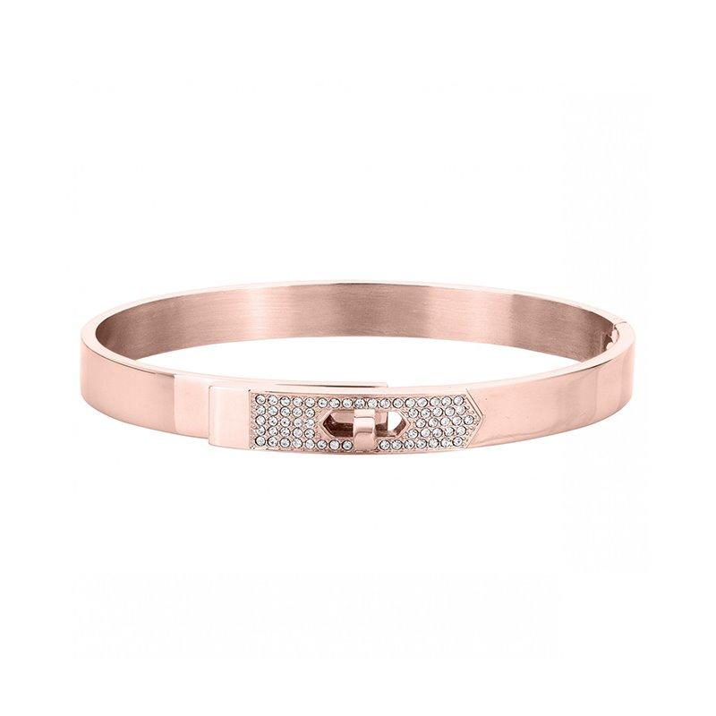 Bracelet femme Jonc PHEBUS acier  cristal rose
