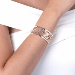 Bracelet femme Manchette PHEBUS acier Motif Japonais