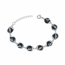 Bracelet Femme EDORA Acier et Boules Céramiques Noires