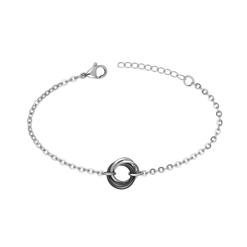 Bracelet Femme Anneaux EDORA Acier et Céramique Noire