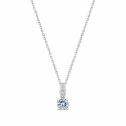 Collier Femme Solitaire ARGENT 925/1000 et Spinelle Bleue