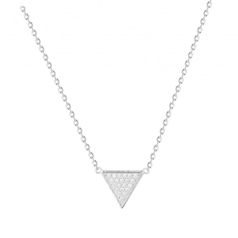 Collier Femme Triangle ARGENT 925/1000 et Oxydes