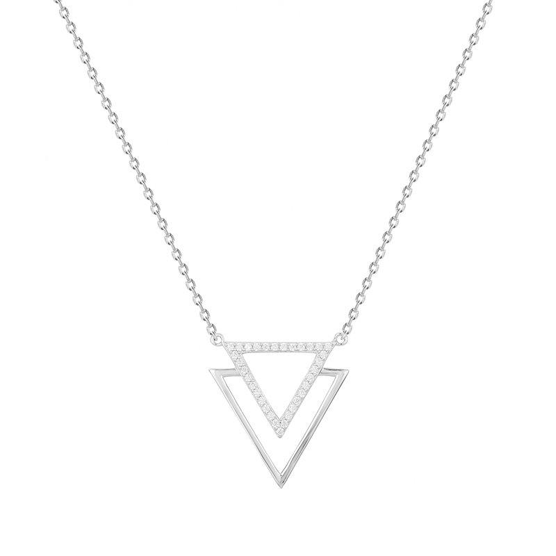 Collier Femme Triangles ARGENT 925/1000 et Oxydes