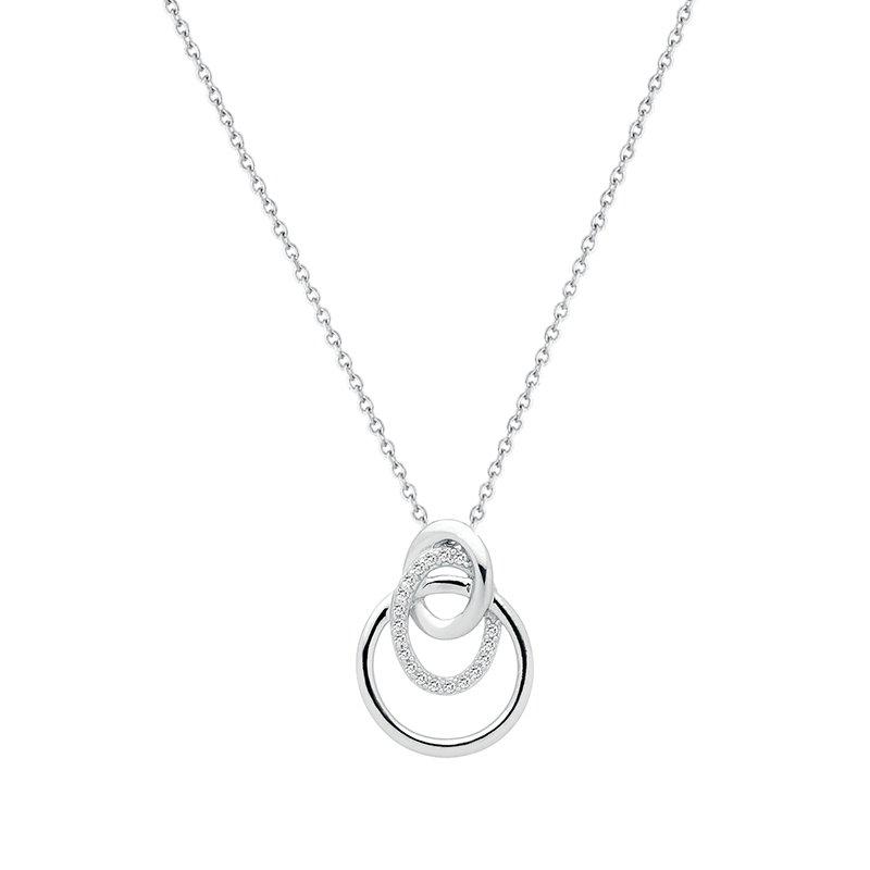 Collier Femme Cercles ARGENT 925/1000 et Oxydes