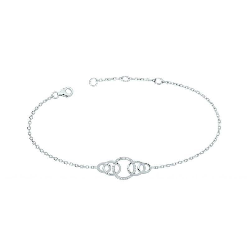 Bracelet femme argent anneaux entrelacés