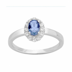 Bague Femme Solitaire Entourage ARGENT 925/1000 et Spinelle Bleue