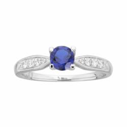 Bague Femme Solitaire Accompagné ARGENT 925/1000 et Spinelle bleue