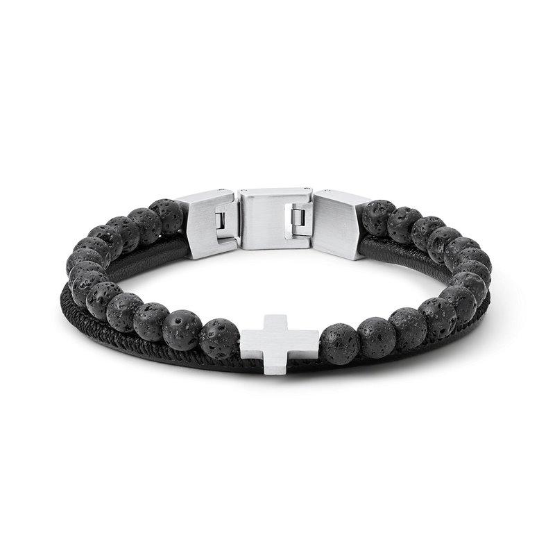 Bracelet Homme Fossil agate noire
