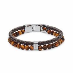 Bracelet homme FOSSIL CASUAL perles œil de tigre