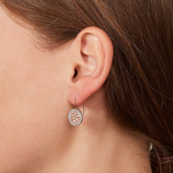 Boucles d'oreilles femme disques FOSSIL Acier Doré Rose