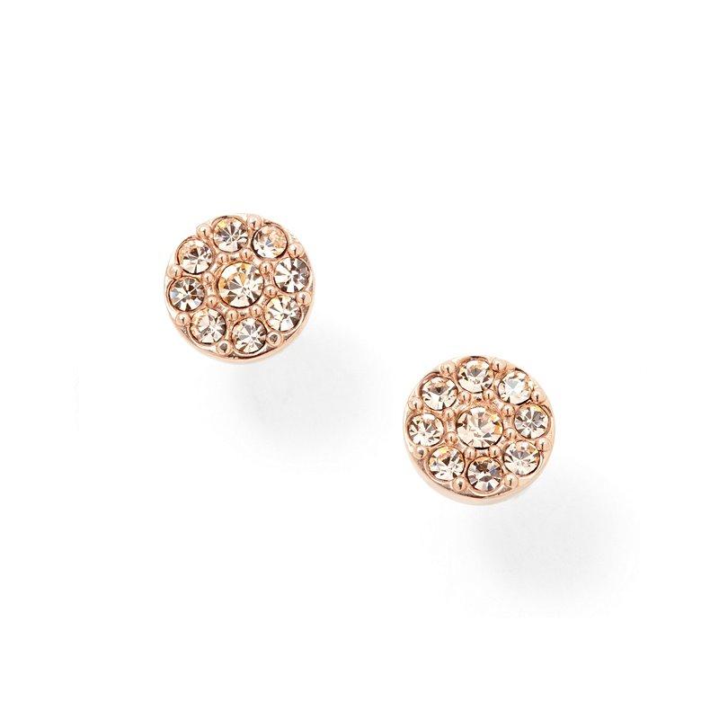 Boucles d'oreilles femme FOSSIL disques doré rose