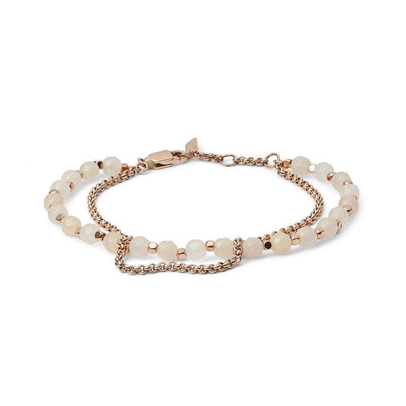 Bracelet Femme FOSSIL double chaîne et pierres roses
