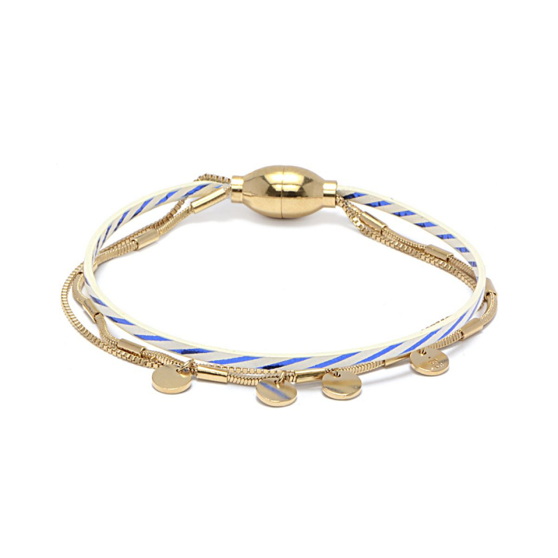Bracelet Femme Rosalie Marinire FLOWERS FOR ZOE Métal Doré et Cuir