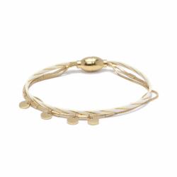 Bracelet Femme Rosalie FLOWERS FOR ZOE Métal  Doré et Cuir