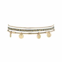 Bracelet Femme Rosalie FLOWERS FOR ZOE Métal Doré et Cuir Vert d'Eau