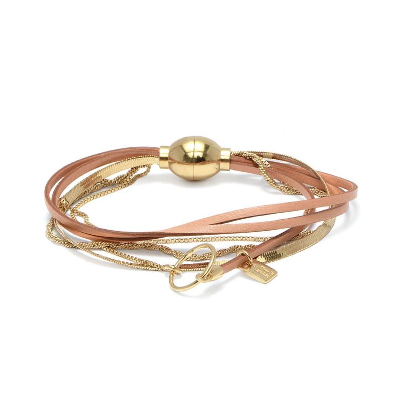 Bracelet Femme Nolita FLOWERS FOR ZOE Métal Doré et Cuir