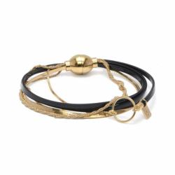 Bracelet Femme Nolita FLOWERS FOR ZOE Métal Doré et Cuir Vernis Noir