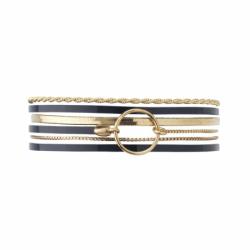 Bracelet Femme Nolita FLOWERS FOR ZOE Cuir Vernis marine