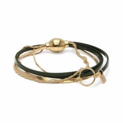 Bracelet Femme Nolita FLOWERS FOR ZOE Métal Doré et Cuirs Vernis kaki