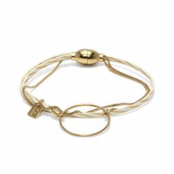 Bracelet Femme Nolah FLOWER FOR ZOE Métal Doré et Cuir Blanc et Doré