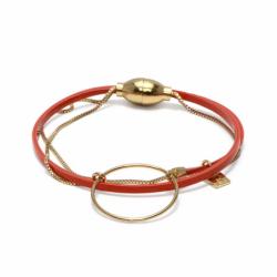 Bracelet Femme Nolah FLOWERS FOR ZOE Métal Doré et Cuir Orange