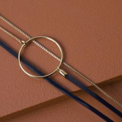Bracelet Femme Nolah  FLOWERS FOR ZOE Métal Doré et Cuir Vernis Bleu