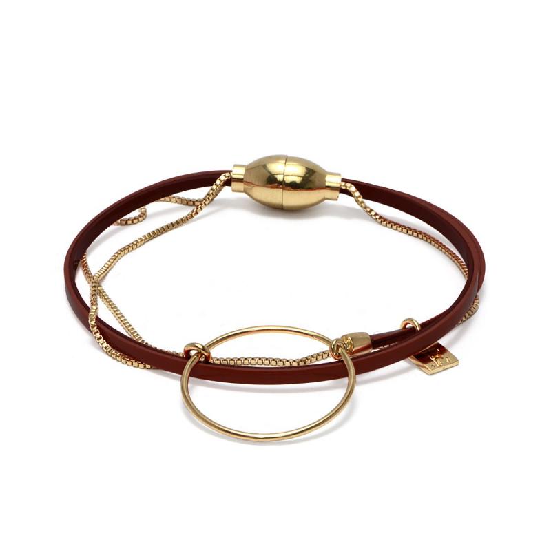Bracelet Femme Nolah FLOWERS FOR ZOE Métal Doré Cuir Vernis Bordeau