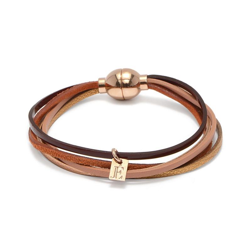 Bracelet Femme Minimulti FLOWERS FOR ZOE Méral Doré Rose et Cuir