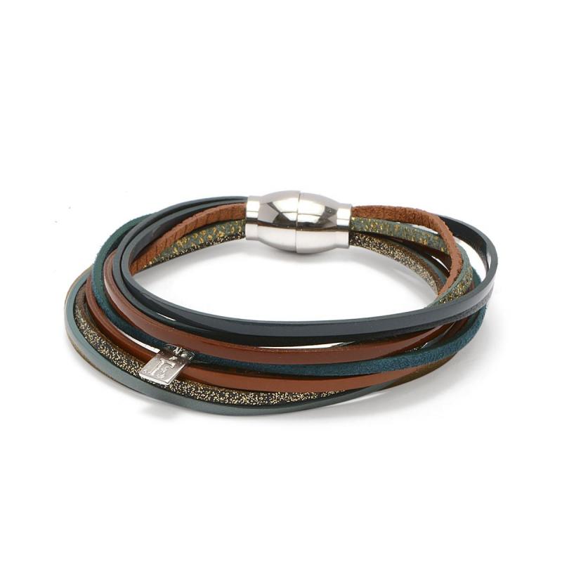 Bracelet Femme Malicieux Louisa FLOWERS FOR ZOE Métal Argenté et Cuir
