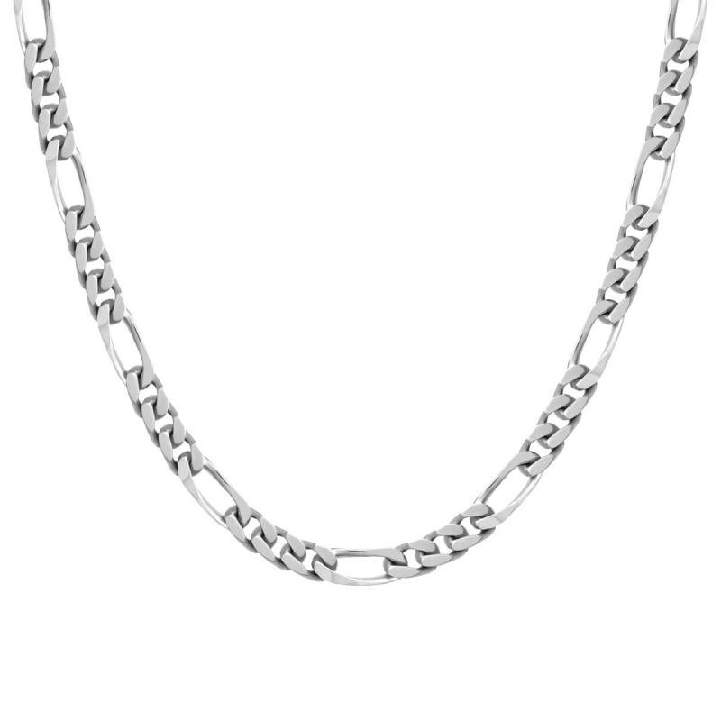Collier Chaîne ARGENT 925/1000 Figaro diamantée 6 mm