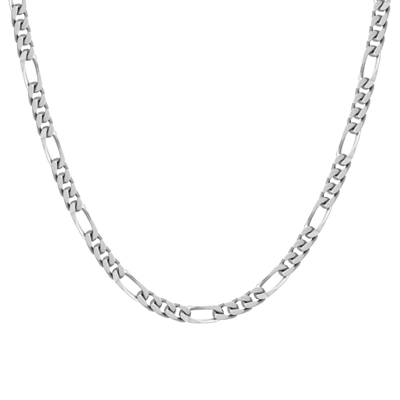 Collier Chaîne EDORA ARGENT 925/1000 Figaro diamantée 5 mm