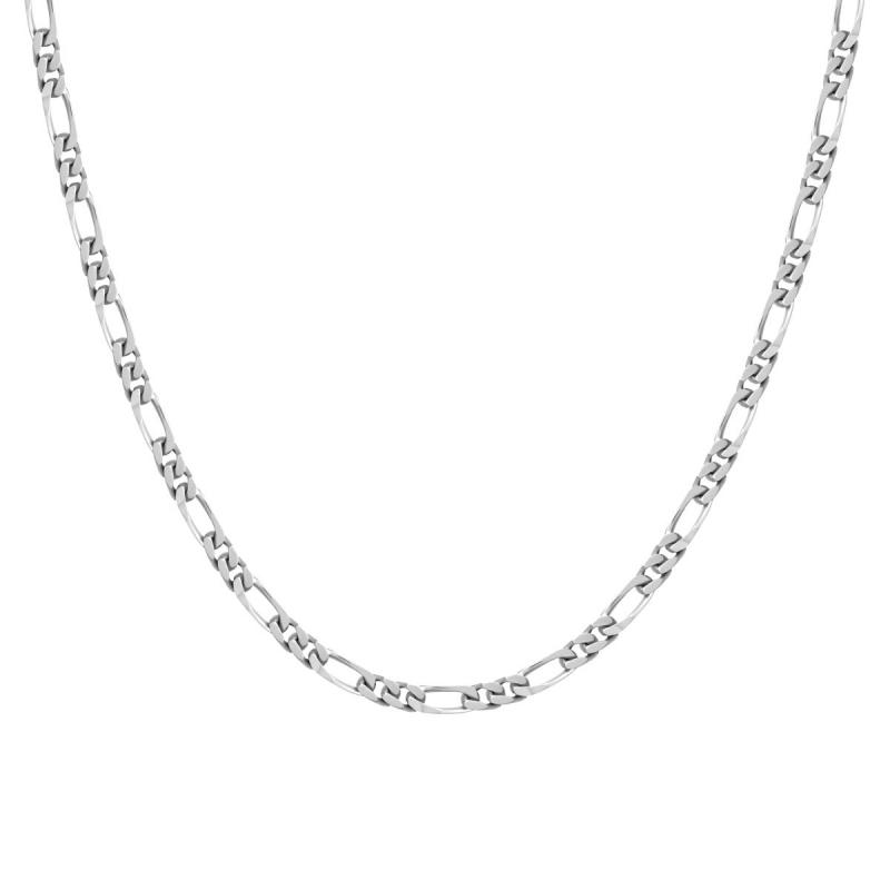 Collier Chaîne ARGENT 925 Figaro diamantée 3.5 mm