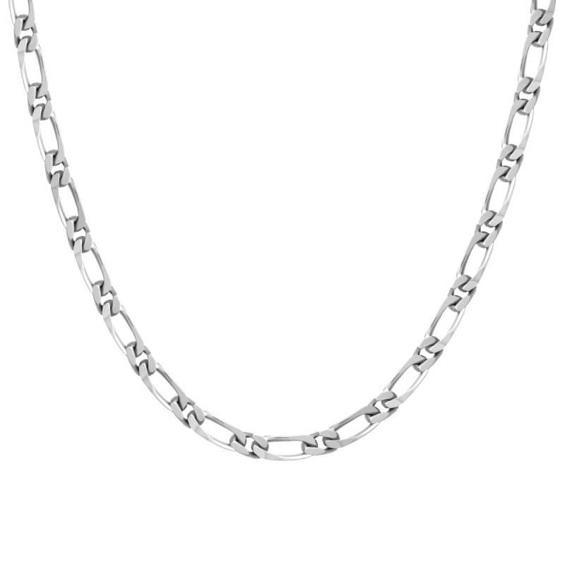 Collier Chaîne ARGENT 925/1000 Figaro Diamantée 5 mm