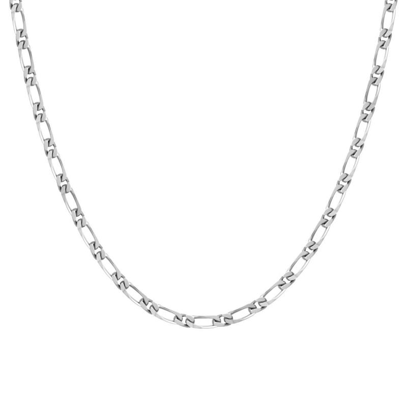 Collier Chaîne ARGENT 925/1000 Figaro Diamantée 3.5 mm