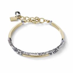 Bracelet Femme COEUR DE LION Cascade acier inoxydable doré & verre argenté
