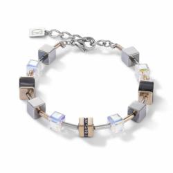 Bracelet Femme COEUR DE LION GeoCUB cristaux pavé, Cristaux Swarovski® et onyx