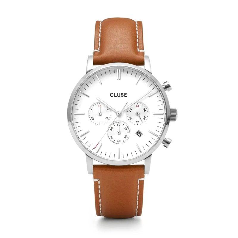 Montre Homme Cluse Aravis chrono leather silver