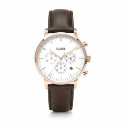 Montre Homme Cluse Aravis chrono leather rose gold