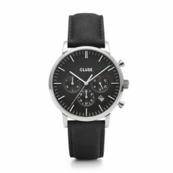 Montre Homme Cluse Aravis chrono leather silver black
