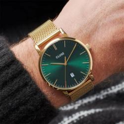 Montre Homme Cluse Aravis mesh gold green