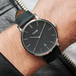 Montre Homme Cluse Aravis leather silver black