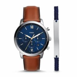 Coffret Montre Homme FOSSIL Neutra chronographe Cuir Marron