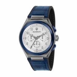 Montre homme chronographe MASERATI TRICONIC Cuir Bleu