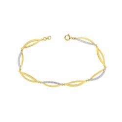 Bracelet Femme OR 375/1000 Bicolore et Oxydes