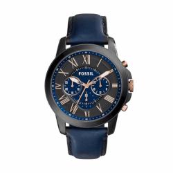 Montre homme FOSSIL GRANT chronographe Cuir Bleu