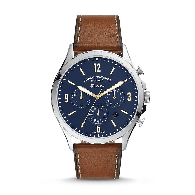 Montre Homme Fossil Forrester chronographe Cuir Marron