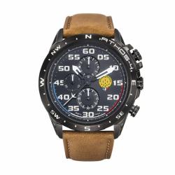 Montre Homme Patrouille de France Chronographe Athos 4 cuir marron moyen