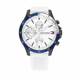 Montre Homme Chronographe TOMMY HILFIGER BANK Silicone Blanc