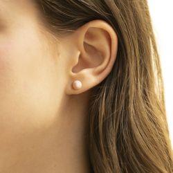 Boucles D'oreilles Puces OR 375/1000 Jaune et Perles
